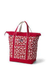 Christmas Print Large Zip Top Canvas Tote Bag