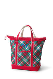 Christmas Print Large Zip Top Canvas Tote Bag, Front