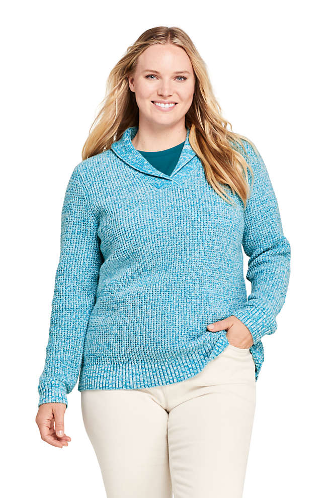 Women's Plus Size Cotton Blend Shawl Collar Textured V-neck Sweater, Front