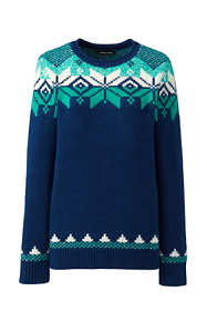 Women's Plus Size Christmas Cotton Blend Crewneck Sweater - Fair Isle