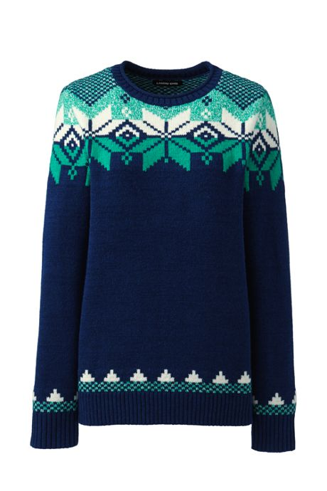 Women's Tall Christmas Cotton Blend Crewneck Sweater - Fair Isle