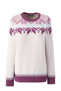 Women's Christmas Cotton Blend Crewneck Sweater - Fair Isle , Front