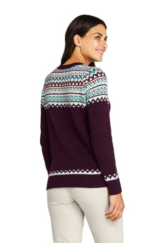 Women's Christmas Cotton Blend Crewneck Sweater - Fair Isle