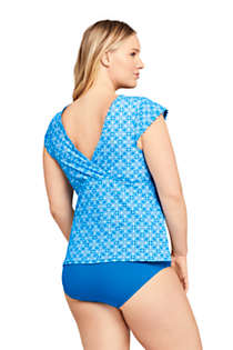 Women's Plus Size Scallop V-neck Cap Sleeve UPF 50 Sun Protection Modest Tankini Top Swimsuit Print, Back