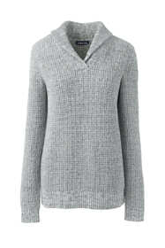 Women's Tall Cotton Blend Shawl Collar Textured V-neck Sweater