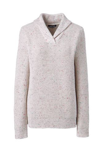 Women's Petite Cotton Blend Shawl Collar Textured V-neck Sweater