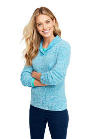Women's Cotton Blend Shawl Collar Textured V-neck Sweater