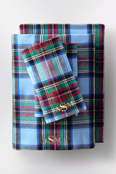 5oz Velvet Flannel Plaid Pillowcases