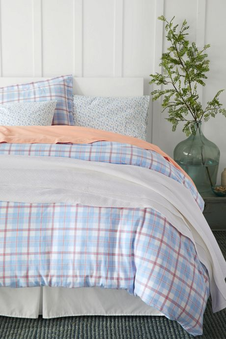5oz Velvet Flannel Plaid Duvet Cover