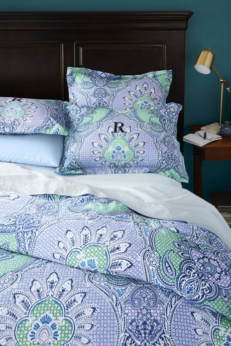 300 Supima Percale Printed Duvet Cover
