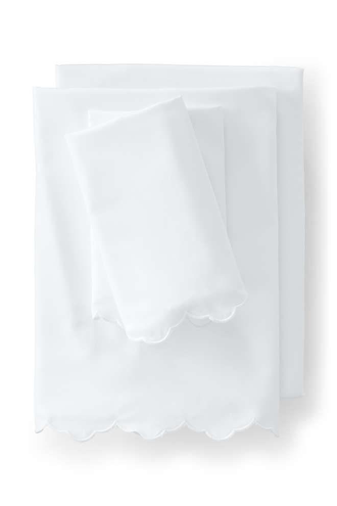 Supima Cotton No Iron Sateen Scallop Sheets - 400 Thread Count, Front