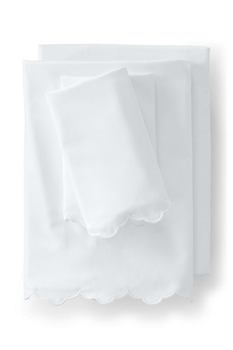 Supima Cotton No Iron Sateen Scallop Sheets - 400 Thread Count