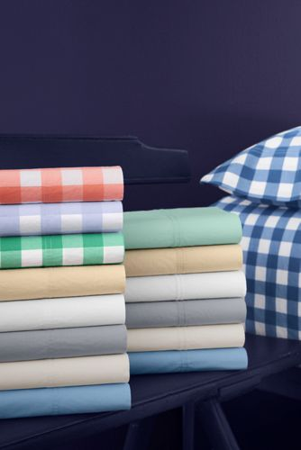 Easy Care Cotton Percale Yarn-Dyed Pillowcases - 200 Thread Count