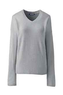 Bouclé-Pullover mit V-Ausschnitt für Damen