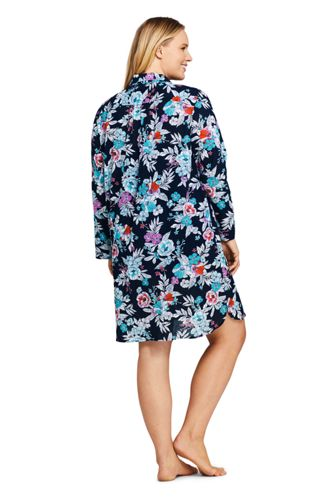 Women's Plus Size Cotton Button Down Shirt Dress Swim Cover-up Print