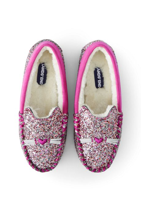 Kids Cute Cat Glitter Moccasin Slippers