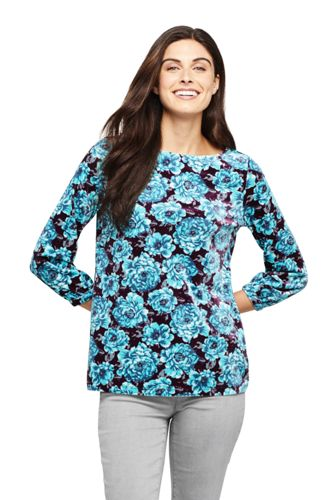 Women's Petite Print Velour Boat Neck Top