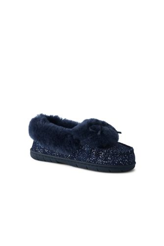 Women's Foil Suede Moccasin Slippers with Shearling Collar