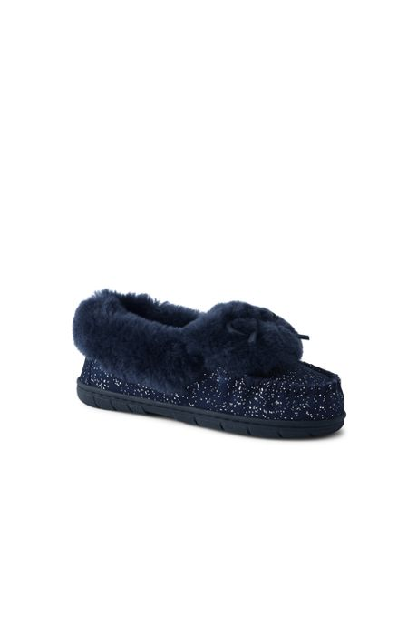 Women's Suede Leather Shearling Fur Moccasin Slippers-Foil