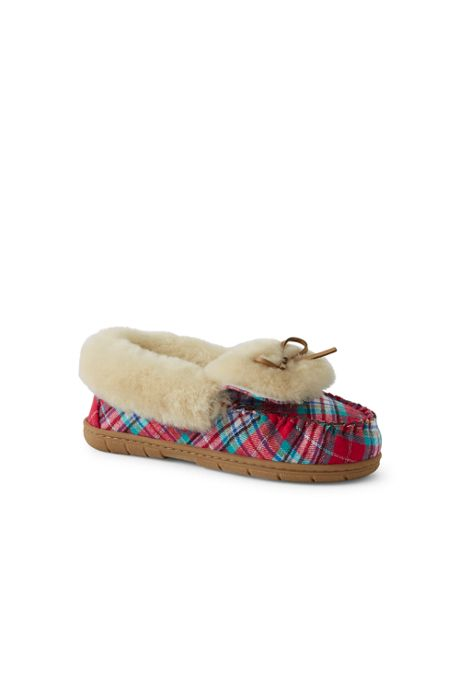 Women's Shearling Fur Moccasin Slippers-Plaid