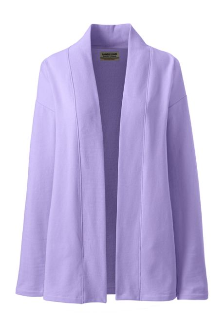 Women's Petite Serious Sweats Open Front Long Cardigan