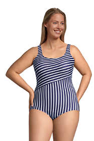Women's Plus Size Long Chlorine Resistant Tugless One Piece Swimsuit Soft Cup Print
