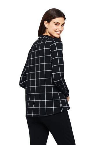 Sweatshirt Jacquard Col Cheminée à Carreaux, Femme Stature Standard