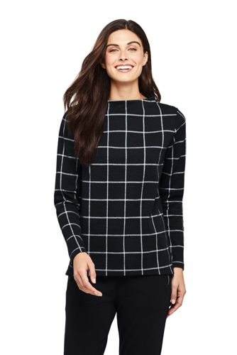 Women's Funnel Neck Windowpane Check Jacquard Top