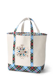 Christmas Embroidered Large Open Top Canvas Tote Bag