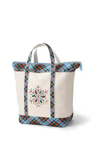 Christmas Embroidered Large Zip Top Canvas Tote Bag