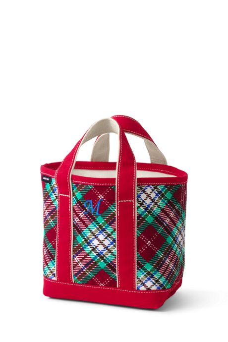 Christmas Print Small Open Top Canvas Tote Bag