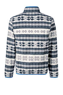 Men's Big Print Fleece Snap Neck Pullover Jacket, Back