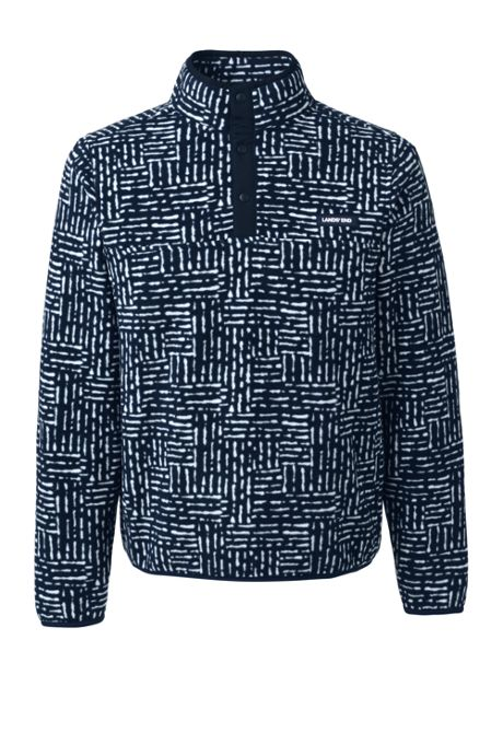 Men's Big and Tall Print Fleece Snap Neck Pullover Jacket