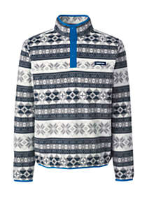 Men's Big Print Fleece Snap Neck Pullover Jacket, Front