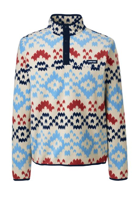 Men's Tall Print Fleece Snap Neck Pullover Jacket
