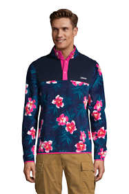 Men's Print Fleece Snap Neck Pullover Jacket