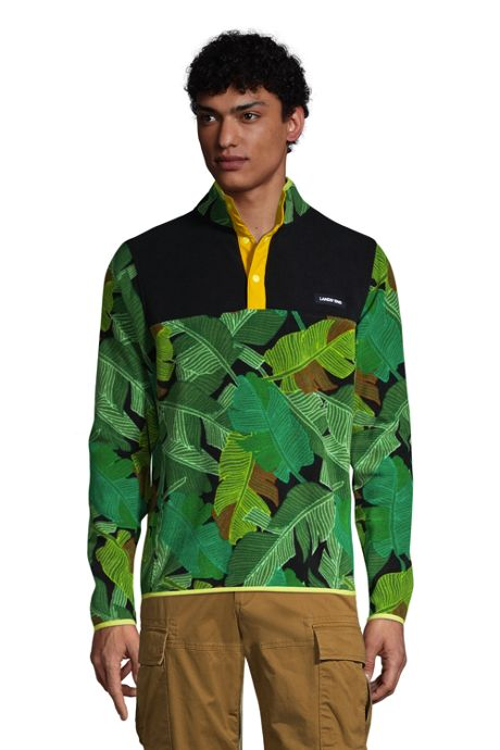 Men's Big Print Fleece Snap Neck Pullover Jacket