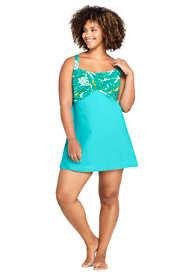 Women's Plus Size Chlorine Resistant Wrap Underwire Modest Dresskini Long Tankini Top Swimsuit