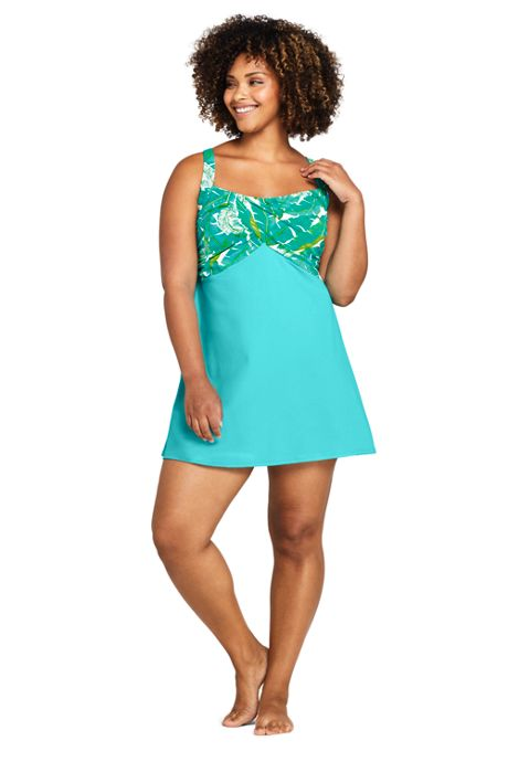 Women's Plus Size Chlorine Resistant Wrap Underwire Modest Dresskini Long Tankini Top Swimsuit