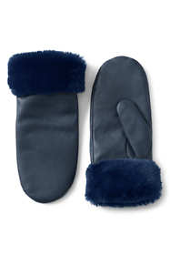 Women's Faux Fur Leather Winter Mittens