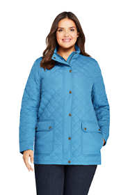 Women's Plus Size Petite Packable Insulated Quilted Barn Long Jacket