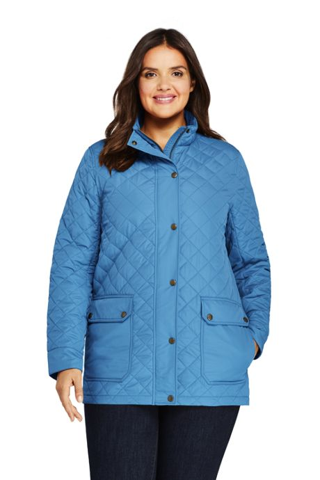 Women's Plus Size Packable Insulated Quilted Barn Long Jacket