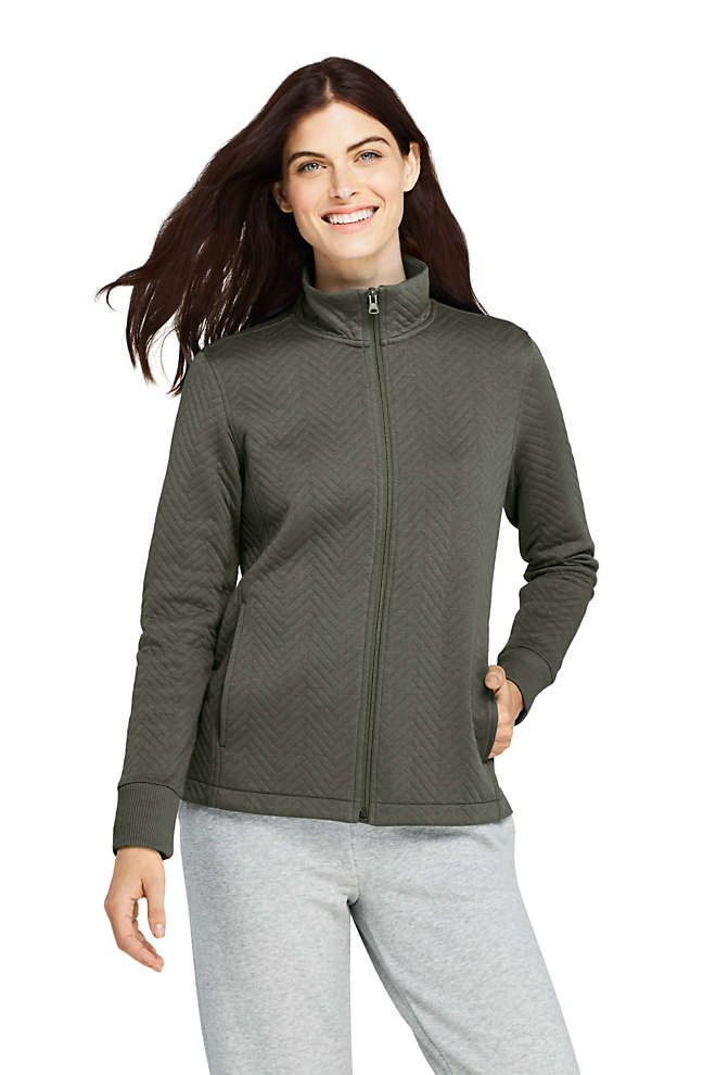 Women's Petite Quilted Fleece Jacket, Front