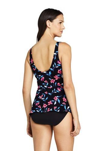 Women's Tie Front V-Neck Peplum Retro Tankini Top Swimsuit Print
