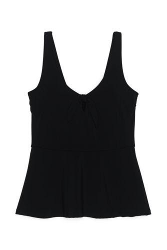 Women's Tie Front V-Neck Peplum Retro Tankini Top Swimsuit