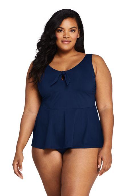 Women's Plus Size Tie Front V-Neck Peplum Retro Tankini Top Swimsuit