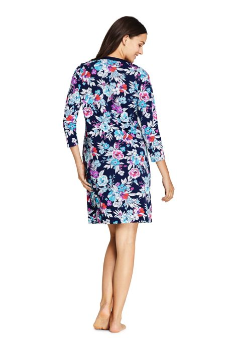 Women's V-Neck 3/4 Sleeve UV Protection Swim Cover-up Dress Print