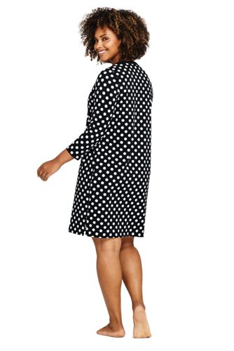 Women's Plus Size V-Neck 3/4 Sleeve UV Protection Swim Cover-up Dress Print