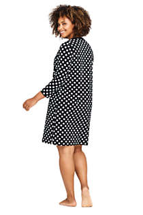 Women's Plus Size V-Neck 3/4 Sleeve UV Protection Swim Cover-up Dress Print, Back