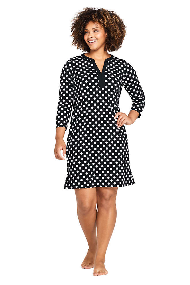 Women's Plus Size V-Neck 3/4 Sleeve UV Protection Swim Cover-up Dress Print, Front
